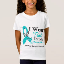 I Wear Teal Ribbon Grandma Ovarian Cancer T-Shirt