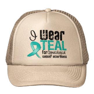 I Wear Teal Ribbon Gynecological Cancer Awareness Trucker Hat