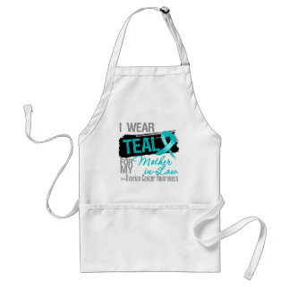 I Wear Teal Ribbon Mother-in-Law Ovarian Cancer Adult Apron