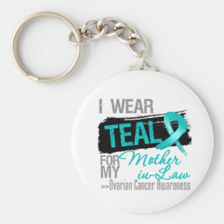 I Wear Teal Ribbon Mother-in-Law Ovarian Cancer Keychains
