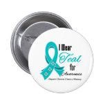 I Wear Teal Ribbon Ovarian Cancer Awareness Pins