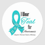 I Wear Teal Ribbon Ovarian Cancer Awareness Stickers