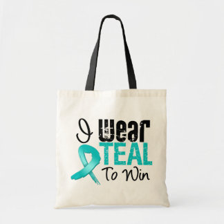 I Wear Teal Ribbon To Win Canvas Bag