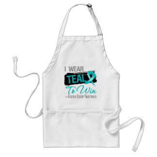 I Wear Teal Ribbon To Win - Ovarian Cancer Adult Apron