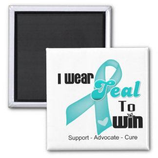 I Wear Teal Ribbon To Win Refrigerator Magnet