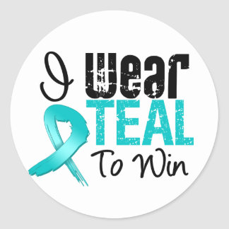 I Wear Teal Ribbon To Win Stickers