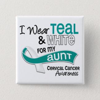 I Wear Teal White 42 Aunt Cervical Cancer Button