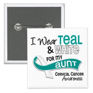 I Wear Teal White 42 Aunt Cervical Cancer Pinback Button