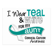 I Wear Teal White 42 Aunt Cervical Cancer Postcard