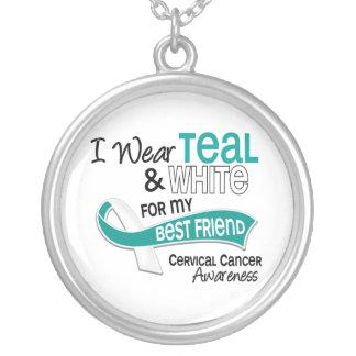 I Wear Teal White 42 Best Friend Cervical Cancer Round Pendant Necklace