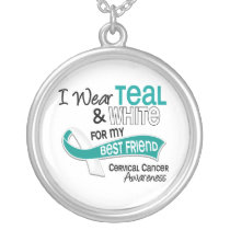 I Wear Teal White 42 Best Friend Cervical Cancer Silver Plated Necklace