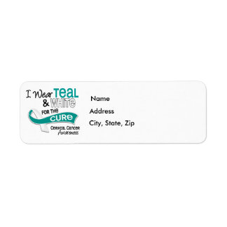 I Wear Teal White 42 Cure Cervical Cancer Label