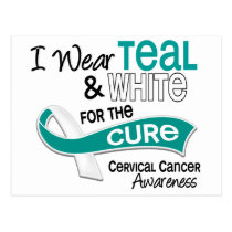 I Wear Teal White 42 Cure Cervical Cancer Postcard