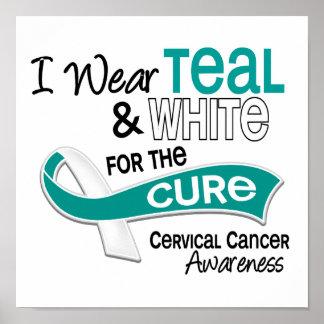I Wear Teal White 42 Cure Cervical Cancer Print