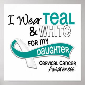 I Wear Teal White 42 Daughter Cervical Cancer Poster