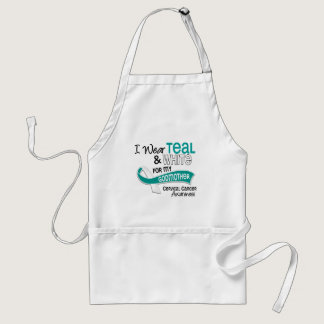 I Wear Teal White 42 Godmother Cervical Cancer Adult Apron