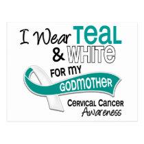 I Wear Teal White 42 Godmother Cervical Cancer Postcard