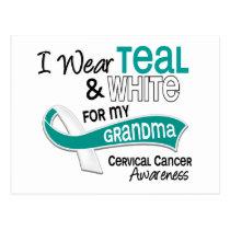 I Wear Teal White 42 Grandma Cervical Cancer Postcard