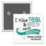 I Wear Teal White 42 Grandmother Cervical Cancer Pins