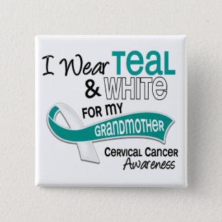 I Wear Teal White 42 Grandmother Cervical Cancer Pinback Button