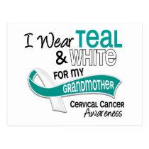 I Wear Teal White 42 Grandmother Cervical Cancer Postcard