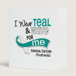 I Wear Teal White 42 Me Cervical Cancer 3 Ring Binder