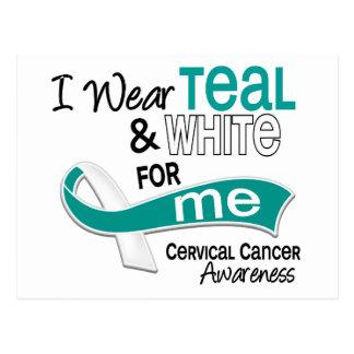 I Wear Teal White 42 Me Cervical Cancer Postcard