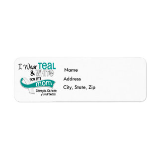 I Wear Teal White 42 Mom Cervical Cancer Label