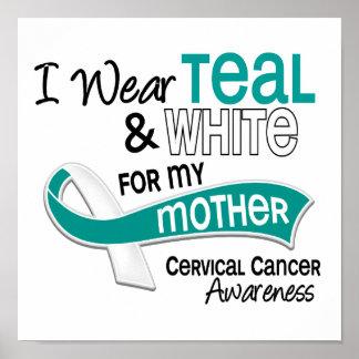 I Wear Teal White 42 Mother Cervical Cancer Poster