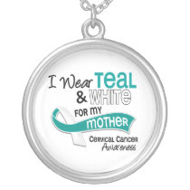 I Wear Teal White 42 Mother Cervical Cancer Silver Plated Necklace