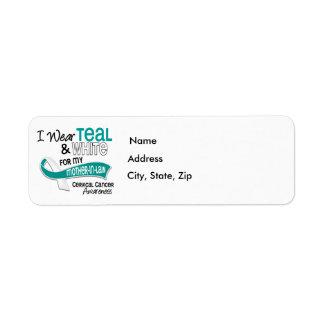 I Wear Teal White 42 Mother-In-Law Cervical Cancer Label