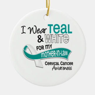 I Wear Teal White 42 Mother-In-Law Cervical Cancer Christmas Ornaments
