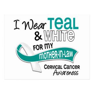 I Wear Teal White 42 Mother-In-Law Cervical Cancer Postcard