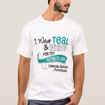 I Wear Teal White 42 Sister-In-Law Cervical Cancer T-Shirt