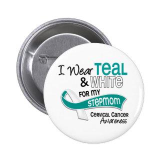 I Wear Teal White 42 Stepmom Cervical Cancer 2 Inch Round Button
