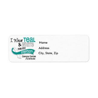 I Wear Teal White 42 Stepmom Cervical Cancer Label
