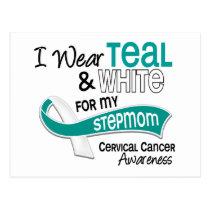 I Wear Teal White 42 Stepmom Cervical Cancer Postcard