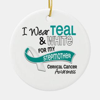 I Wear Teal White 42 Stepmother Cervical Cancer Christmas Ornament