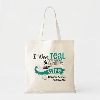 I Wear Teal White 42 Wife Cervical Cancer Tote Bag