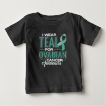 I Wear Teal & White For Cervical Cancer Awareness Baby T-Shirt