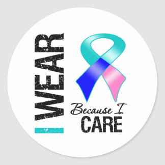 I Wear Thryoid Cancer Ribbon Because I Care Round Stickers
