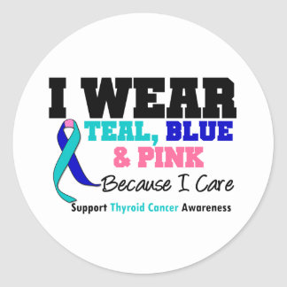 I Wear Thyroid Cancer Ribbon Because I Care Classic Round Sticker