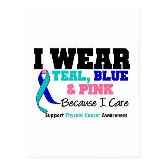 I Wear Thyroid Cancer Ribbon Because I Care Postcard