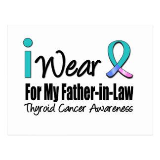 I Wear Thyroid Cancer Ribbon Father-in-Law Postcard