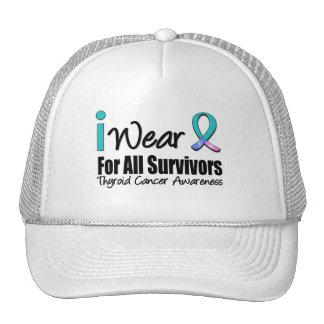 I Wear Thyroid Cancer Ribbon For All Survivors Mesh Hat