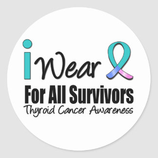 I Wear Thyroid Cancer Ribbon For All Survivors Round Sticker