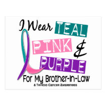 I Wear Thyroid Cancer Ribbon For Brother-In-Law 37 Postcard