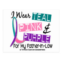 I Wear Thyroid Cancer Ribbon For Father-In-Law 37 Postcard