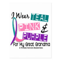 I Wear Thyroid Cancer Ribbon For Great Grandma 37 Postcard