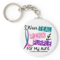 I Wear Thyroid Cancer Ribbon For My Aunt 37 Keychain